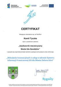 Certyfikat ze szkolenia – Geo Ośrodek