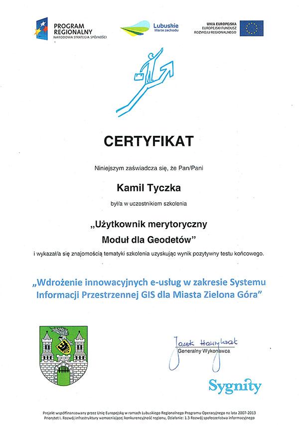 MASS Geodezja - certyfikat ze szkolenia Geo-Ośrodek Zielona Góra