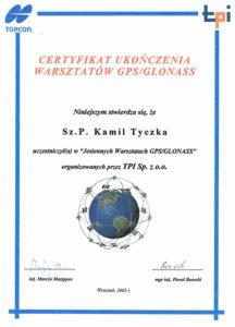 Certyfikat z warsztatów GPS/GLONASS