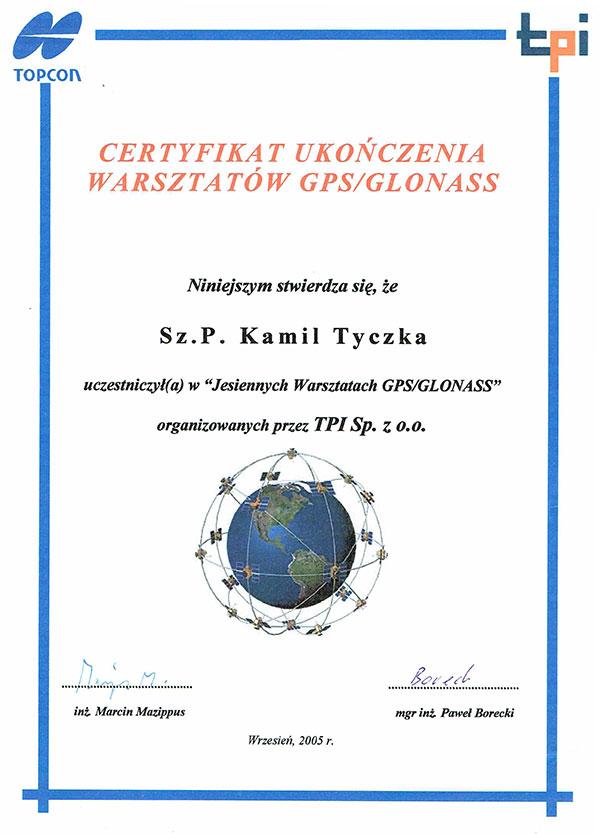 MASS Geodezja - certyfikat z warsztatów GPS GLONASS nowoczesne techniki pomiarowe